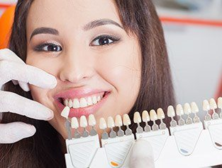 woman comparing teeth to veneer chart