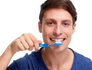 man with toothbrush